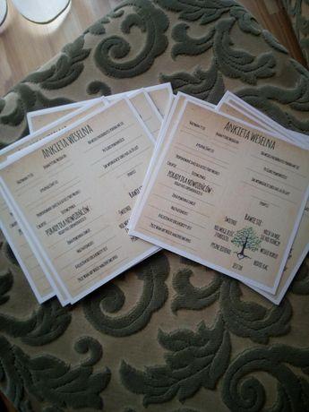 Ankieta weselna, ślub, wesele, 30 sztuk