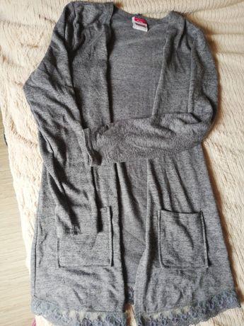 dziewczęca narzutka sweterek długi szary 158 164