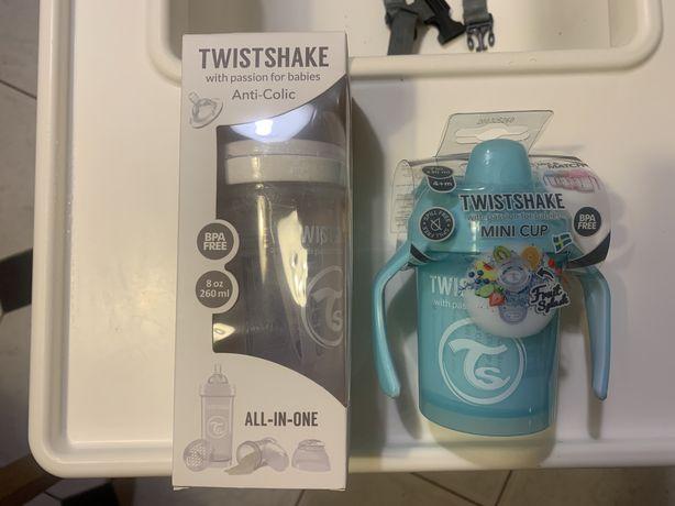 Komplet Twistshake butelka M i kubek niekapek