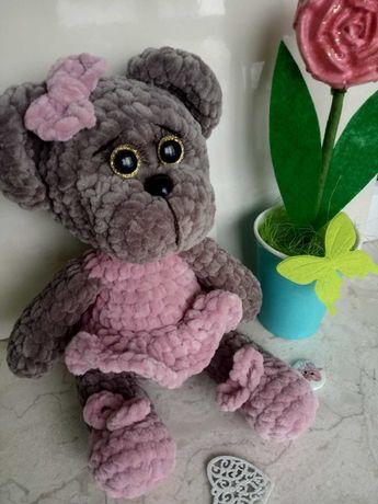 Мишка з плюшевой пряжы