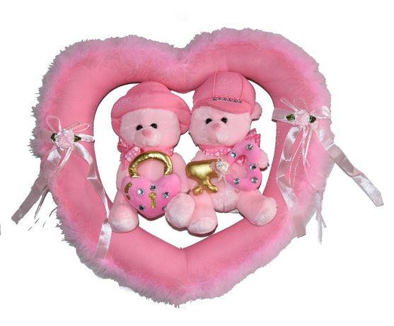 Walentyki Piękny Wianek SERCE PARA MISIÓW Różowy