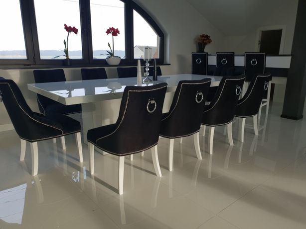 Krzesło krzesła tapicerowane glamour pikowane z kołatką producent