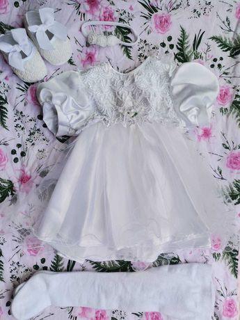 Zestaw do chrztu,  sukienka opaska buciki rajstopy