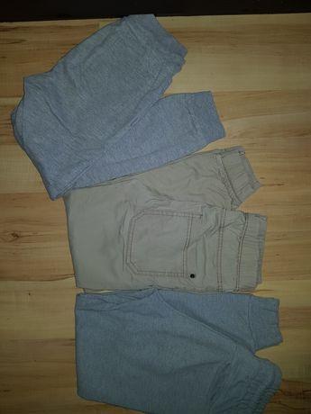 Joggersy spodnie 128 134 szare dresy i inne beżowe