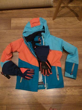 Kurtka narciarska+rękawice  snowboardowowe, narciarakie