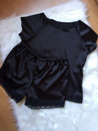 Piżama satynowa czarna z koronką 36 S piżamka koronka