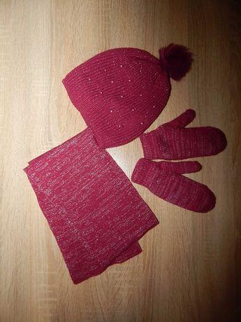 Стильный набор: шапка шарф перчатки для девочек 3-5 лет Faberlic