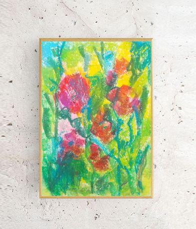 kolorowy obraz a4, łąka obraz, impresjonizm rysunek, kwiaty obrazek a4