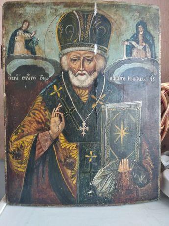 Старинная деревянная писаная икона Святой Николай Чудотворец,19 век.
