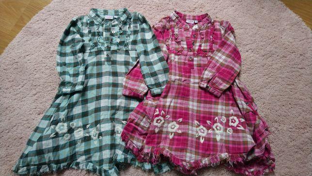 Kappahl 92 sukienka tunika koszulowa kratka bliźniaczki