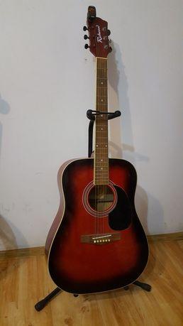 Gitara akustyczna, stojak, stroik, pokrowiec .