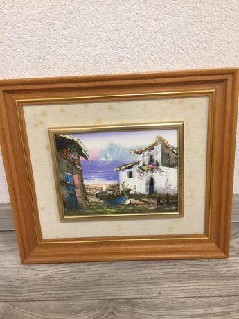 Malowany obraz nadmorskiego domu 44,5 na 38,5cm
