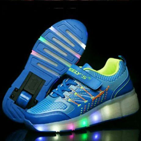 Светящиеся роликовые кроссовки  WHEELY'S хилисы ролики Heelys р.30-35
