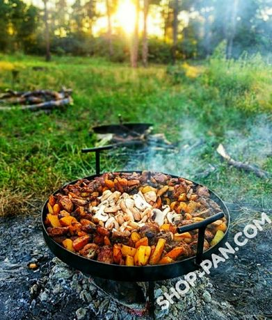 Сковорода из диска бороны с крышкой для пикника костра садж мангал ОПТ