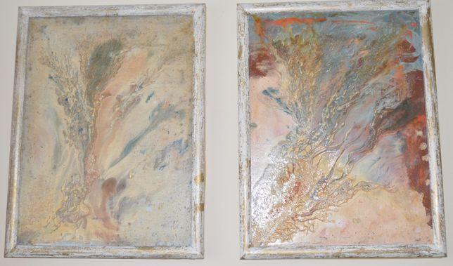 2 oryginalne obrazy olejne na płótnie w drewnianej ramie 50 x 70