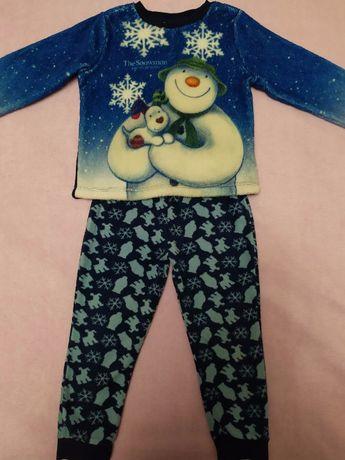 Пижама теплая фирменная Tesco Snowman для мальчика 2-3 и 4-5 лет.