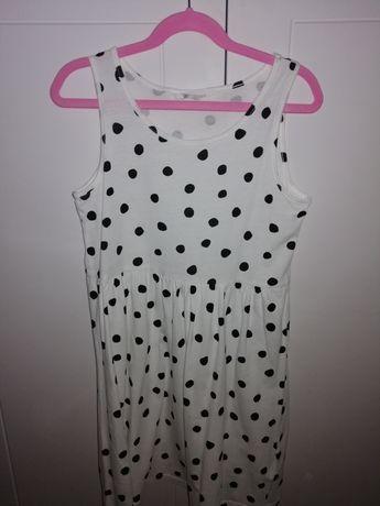 Sukienka H&M rozm. 8-10lat 134/140  biała w czarne kropki
