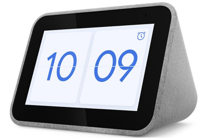Lenovo Smart Clock 4'' com Google Assistant - Soft Touch Cloth Grey:
