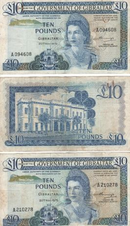 3 Notas de Ten Pounds Gibraltar 20 Nov. 1975