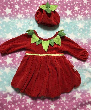 Baby rico платье 1-3 мес+ ,,Клубничка,,