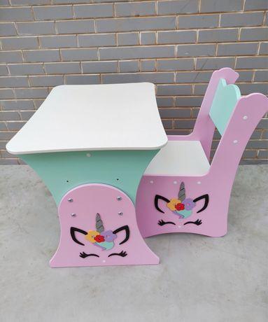 Детский столик и стульчик Единороги, растущий столик