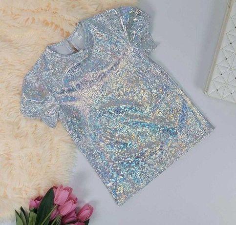 Опт/розн футболка СЕРЕБРО 110-140 Блестящая футболка,нарядная футболка
