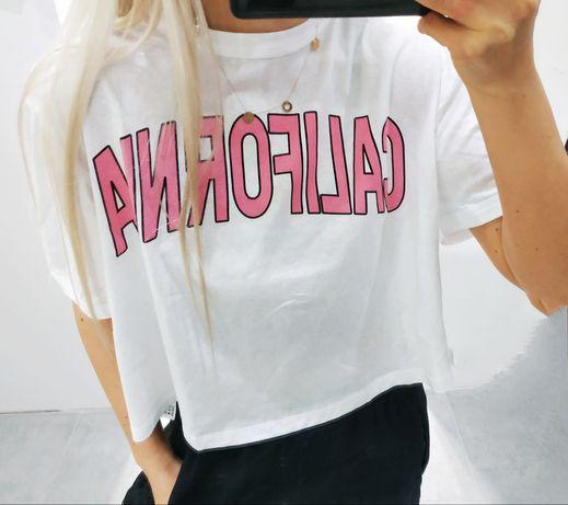 Krótka koszulka Zara L Crop top overszie z napisem