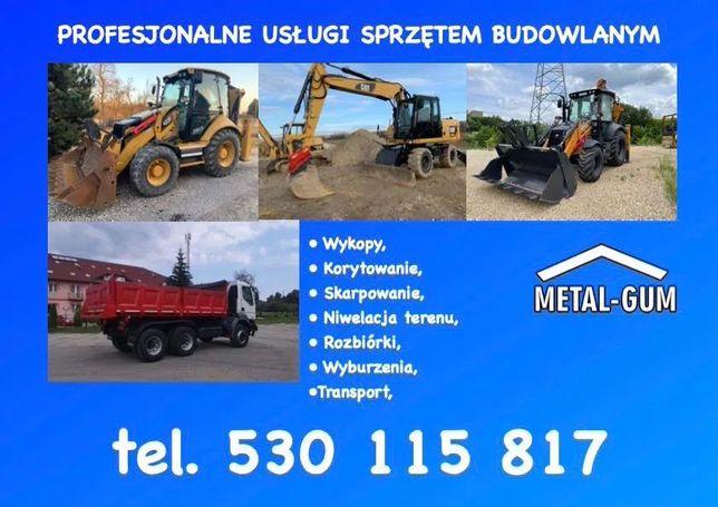 Usługi Koparko Ładowarką, Koparką, Młot Wyburzeniowy, Transport