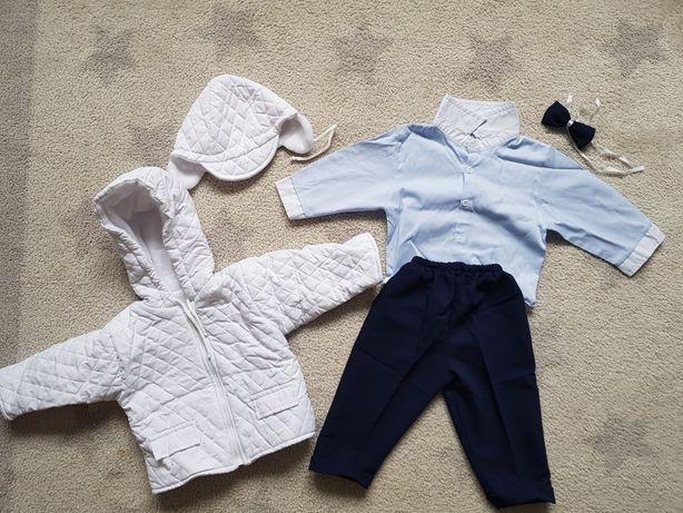 Komplet do chrztu, garnitur chłopięcy, ubranko rozm.74