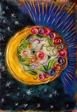 Картина вовняна (шерстяна) акварель Місяць ясний, сонце красне