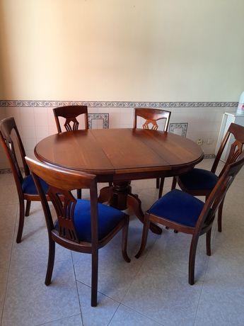 Mesa jantar cerejeir com 6 cadeiras