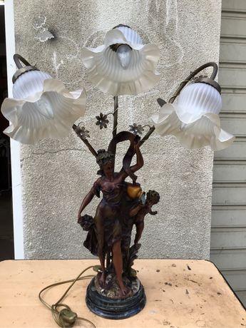 Candeeiro antigo c/3 lampadas em cobre e c/imagem c/ 60 cms altura 7 k