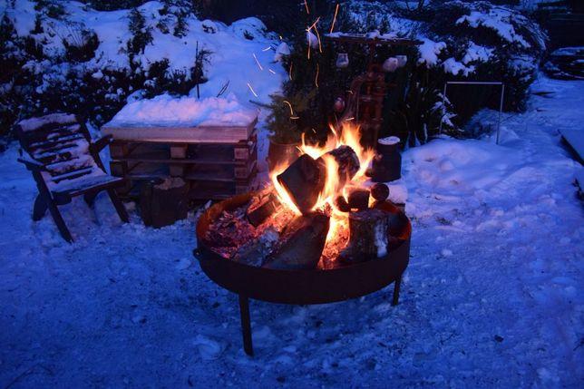 Całoroczne palenisko do ogniska i grilla, stalowe 80 cm NOWE