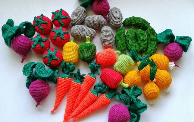 Вязаные овощи.Огород.