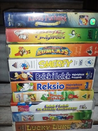 Bajki na kasetach VHS 10 sztuk