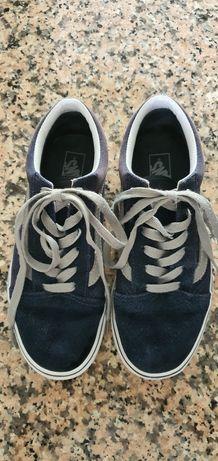 Ténis VANS ( original ) em pele Tam.36 azul e cinzento..
