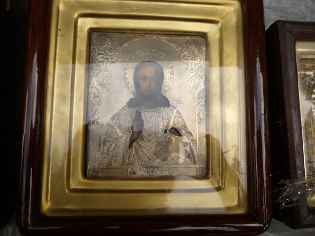 Старинная икона, серебро 84 пробы, 19 век