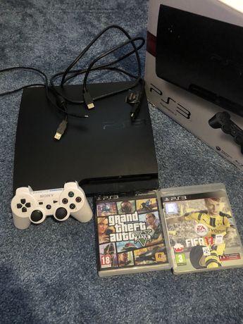 Konsola PS3 + 2 gry + pad + okablowanie