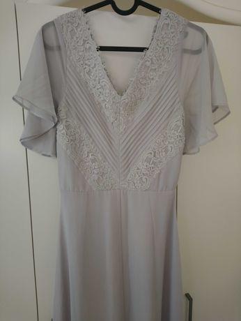 Szara długa sukienka koronka elegancka rozmiar 36