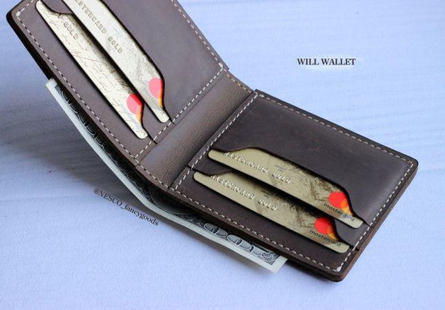 Кожаный кошелек Портмоне ручной работы Натуральная кожа