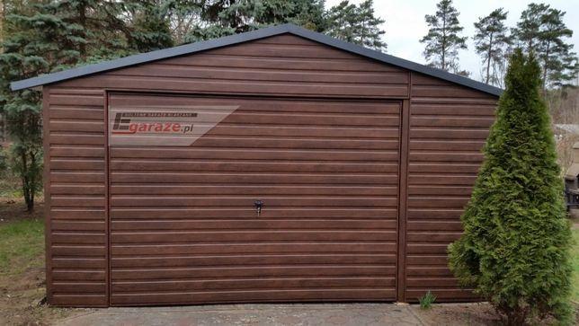 Garaż blaszany nowoczesny, drewnopodobny, KAŻDY WYMIAR, Producent