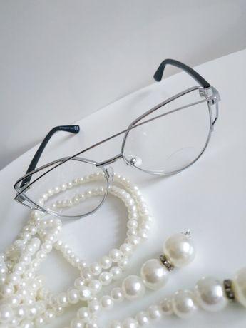 Zerówki okulary kocie oczy cuteye srebrne nowe tanio
