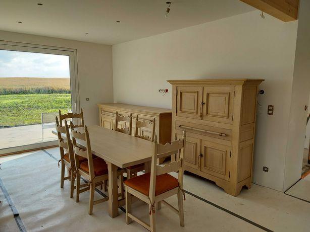Meble do salonu,drewniane,2 komody,stół+6krzeseł,