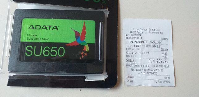 """Sprzedam nowy twardy dysk HDD SSD ADATA SU650 480 GB SATA 2,5"""""""