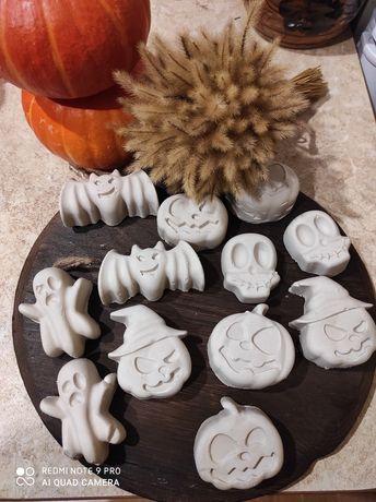 Гипсовые фигурки для Хеллоуина тыква, летучая мышь, череп