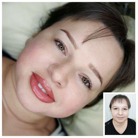 Натуральный перманентный макияж. Пудровые брови, губы, стрелка.