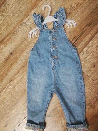 Ogrodniczki Zara 86 jeansowe z falbanką