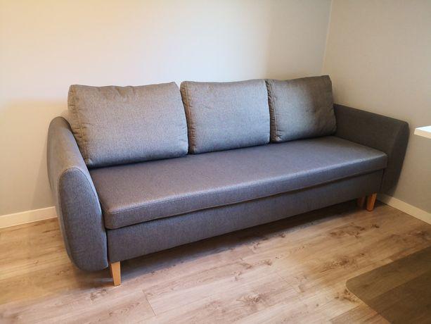 Szara sofa, kanapa rozkładana