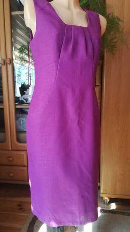 Elegancka wrzosowa sukienka L/40, stan idealny