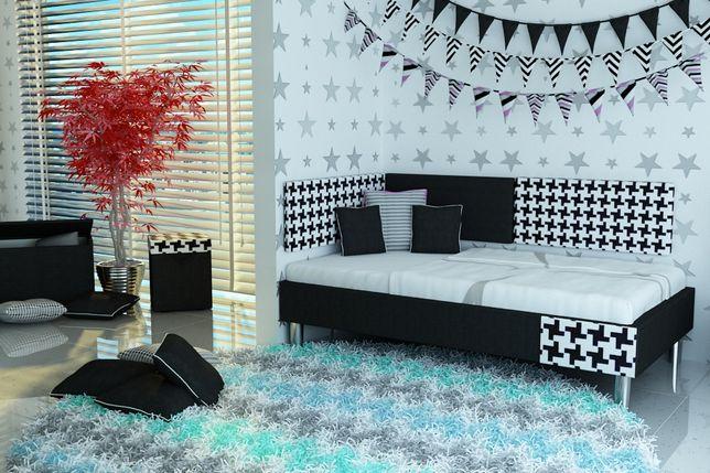 Łóżko dla dziecka tapicerowne tkanina+panele ścienne,materac w cenie